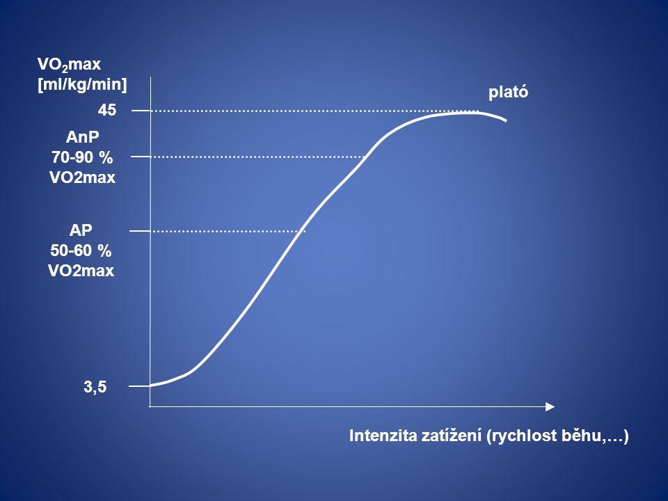 VO2max [ml/kg/min] plató. 45. AnP. 70-90 % VO2max.